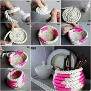 Wonderful DIY Unique Rope Basket