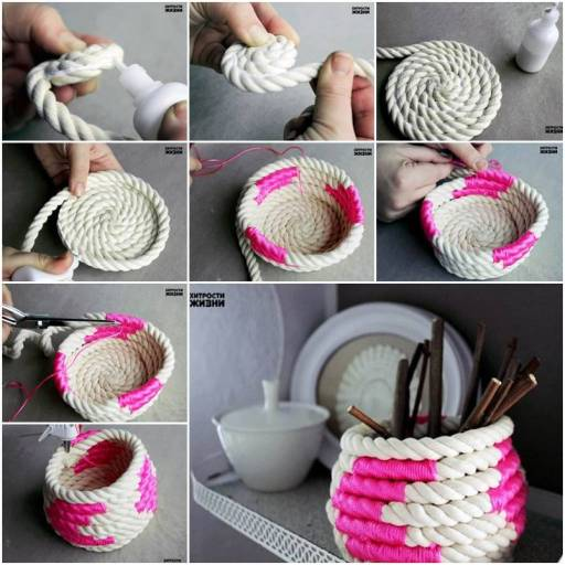 How to make DIY color block coiled rope basket Wonderful DIY Unique Rope Basket