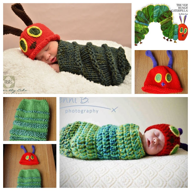 Knit Very hungry caterpillar F Knitted Very Hungry Caterpillar Baby Cocoon