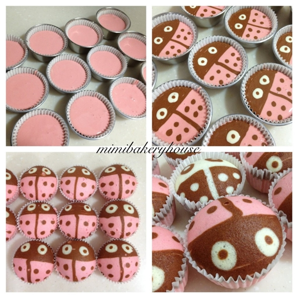 Ladybug Steamed Strawberry Cupcakes F
