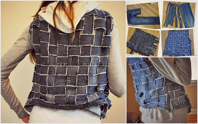 Reuse Old Jeans into a vest Wonderful  DIY New Handbag From Old Jeans