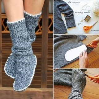 Wonderful DIY  Slipper Boots From Sweater