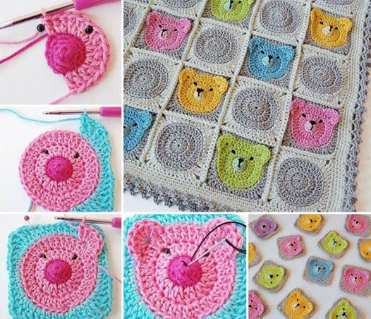 Teddy Granny Square Blanket