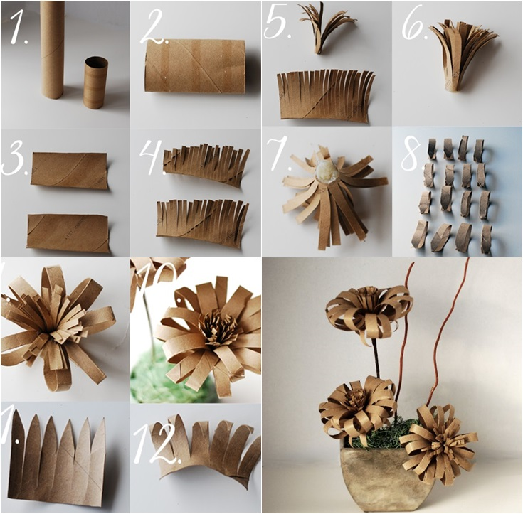 Vintage-paper-flower-from-Toilet Paper-roll DIY