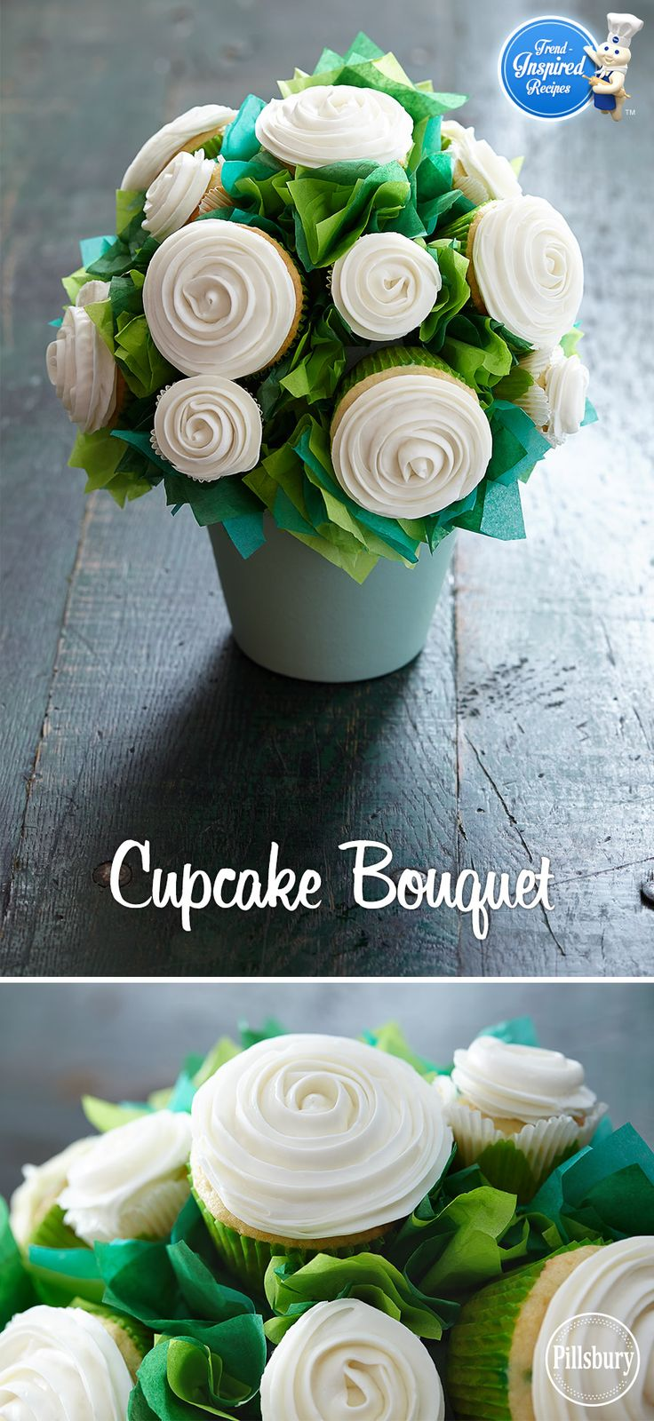 White rose cupcake bouquet