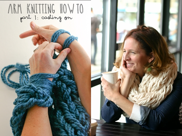 arm knitting scarf F1 Wonderful DIY Super Easy Arm Knitted Scarf