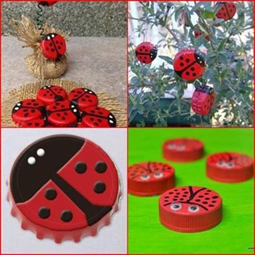 bottle cap ladybug