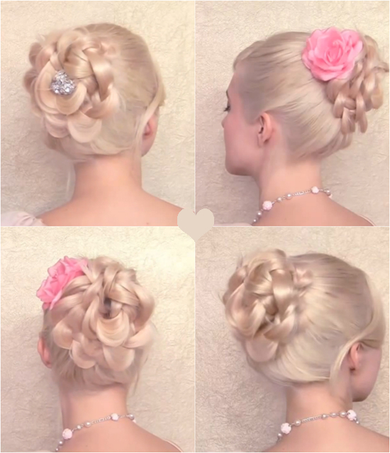 braided flower bun hairstyle1 Wonderful DIY Braided Bun Hairstyle With Clip