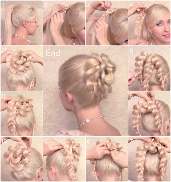 braided flower bun hairstyle2 Wonderful DIY Braided Bun Hairstyle With Clip