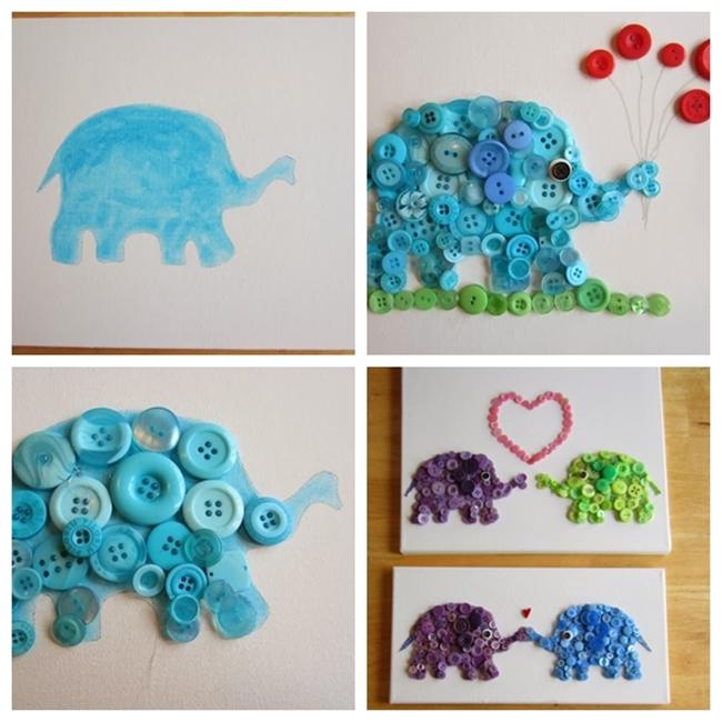 button-elephant-wall-art F
