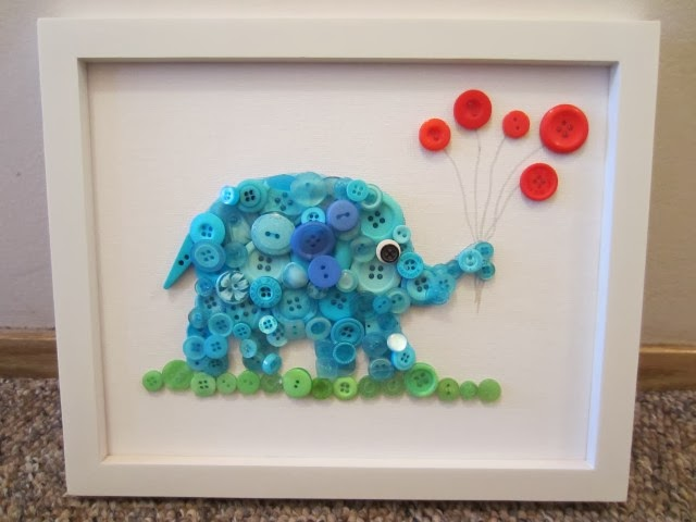 button elephant wall art1 Wonderful DIY Button Elephant Wall Art