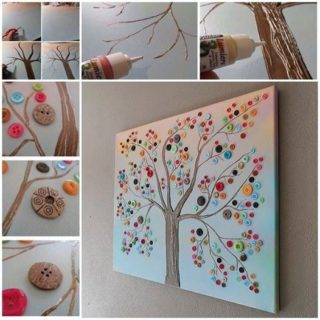 Wonderful DIY Vibrant Button Tree Wall Decor