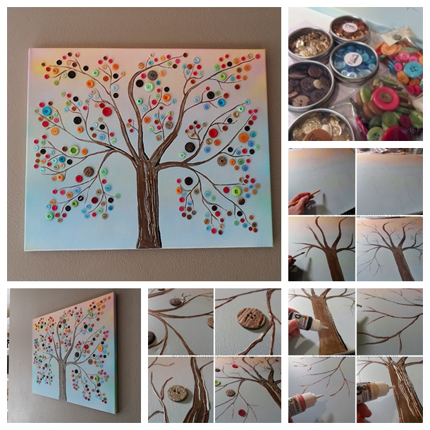 craft painting ideas wonderful diy vibrant button tree wall decor 1603