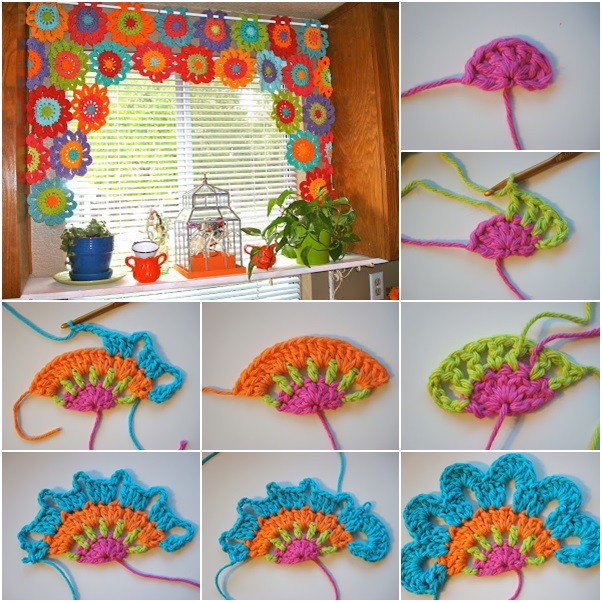 crochet Flower Power Valance Bright and Beautiful Homemade Crochet Flower Curtain