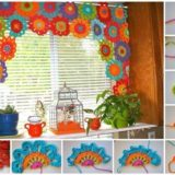 Bright and Beautiful Homemade Crochet Flower Curtain