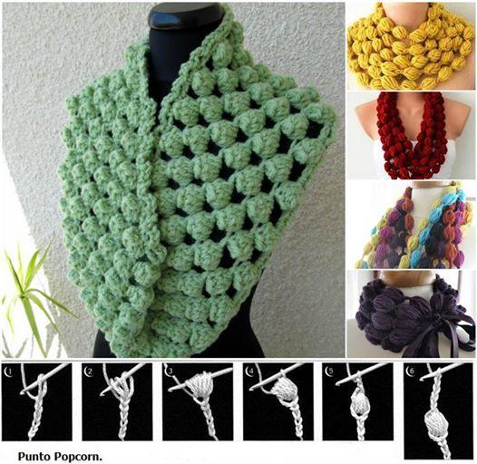 crochet puff ball scarf