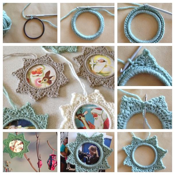 crochet star photo frame F