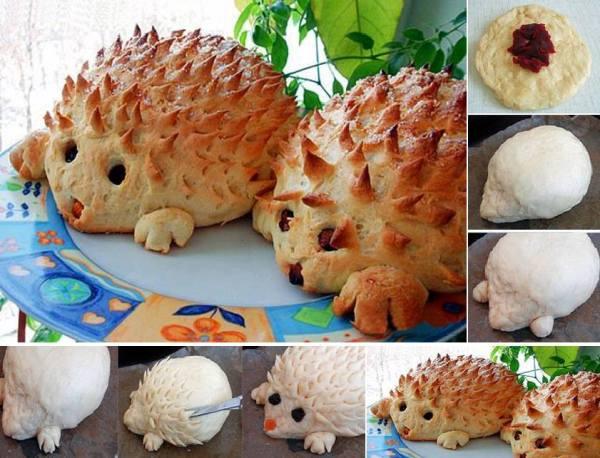 cute hedgehog bread1  Wonderful DIY Lovely Hedgehog Bread