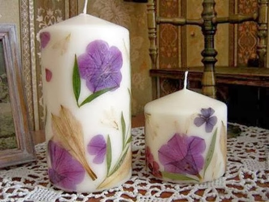 diy dried flowers decorated candles 01 Wonderful DIY Decorate  Candles With Dry Flowers