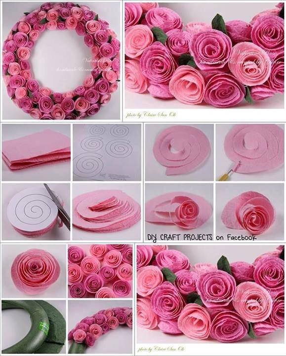 felt flower wreath Wonderful DIY Beautiful Felt Rose Wreath