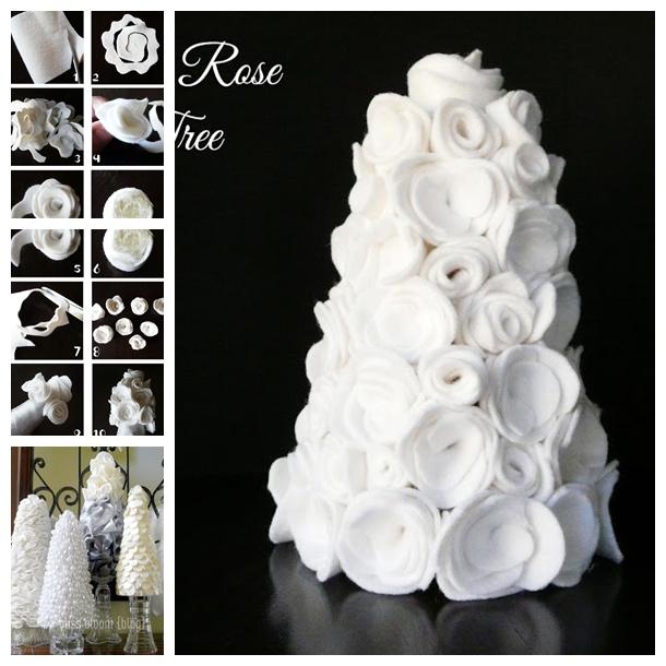 felt rose tree F Wonderful DIY Beautiful Table Felt Rose Tree