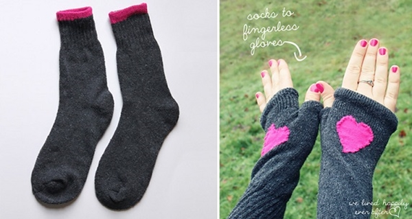 fingerless gloves out of socks1 Wonderful DIY Fingerless Gloves From Socks