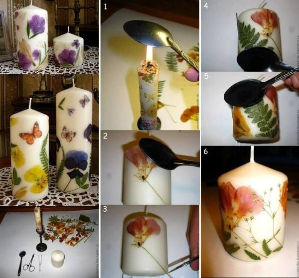 flower candle diy f2 Wonderful DIY Decorate  Candles With Dry Flowers