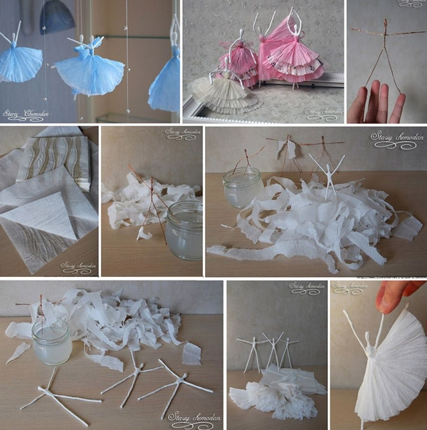 napkin and wire ballerina craft F Wonderful DIY Napkin Ballerinas