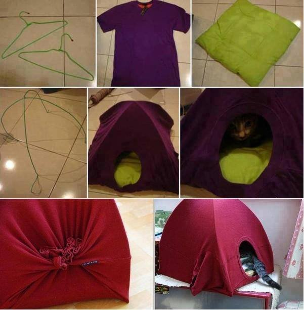 wonderful diy cat tent bed from old shirt. Black Bedroom Furniture Sets. Home Design Ideas