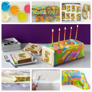 Wonderful DIY Rainbow Tie-Dye Surprise Cake