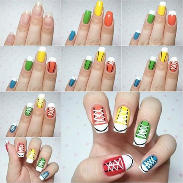 sneakers nail art F Wonderful DIY Cool Sneakers Nail Art
