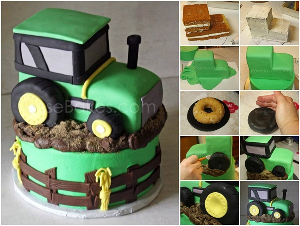tractor cake F Wonderful DIY Cool  John Deere Green Tractor Cake