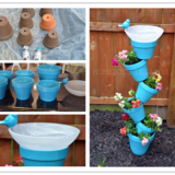 DIY Vertical Planter and Bird Bath Combo – Free Guide