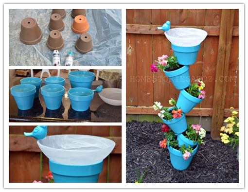 vertical pot planter & bird bath
