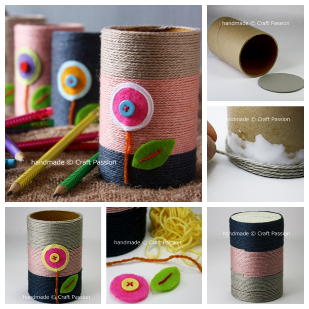 yarn pencil holder from paper rolls F