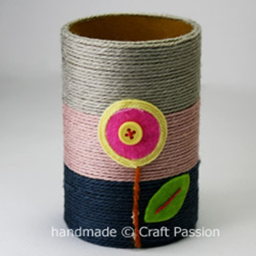 yarn pencil holder from paper rolls9