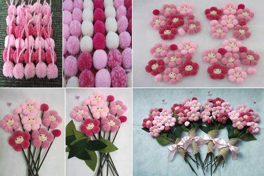yarn pom pom flower Wonderful DIY Lovely Pom Pom Sunflowers