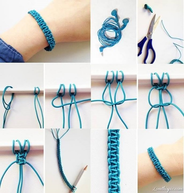 View In Gallery Amazing Braided Bracelet Diy 2 Recycled Headphones Bracelets