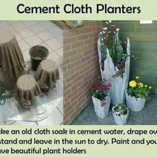 Wonderful DIY Rustic  Cement  Cloth Planter