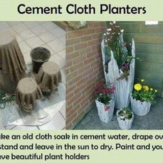 Wonderful DIY Rustic  Cement  Cloth Planter