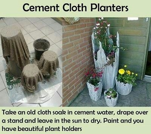 Cement Planter from old clothes Wonderful DIY Rustic  Cement  Cloth Planter
