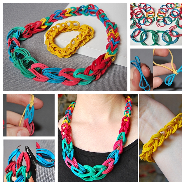 Chain Necklace and Bracelet with rubber band F