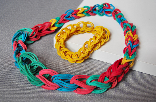 Chain Necklace and Bracelet with rubber band6