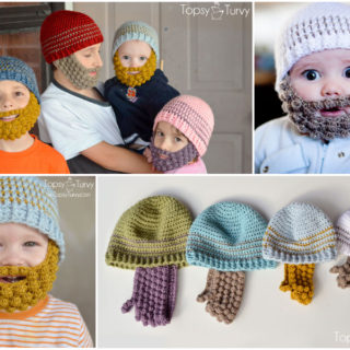 Wonderful DIY Lovely Crochet Bobble Beard Beanies