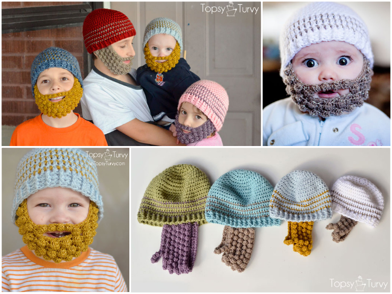 7dca968ffe6 Wonderful DIY Lovely Crochet Bobble Beard Beanies