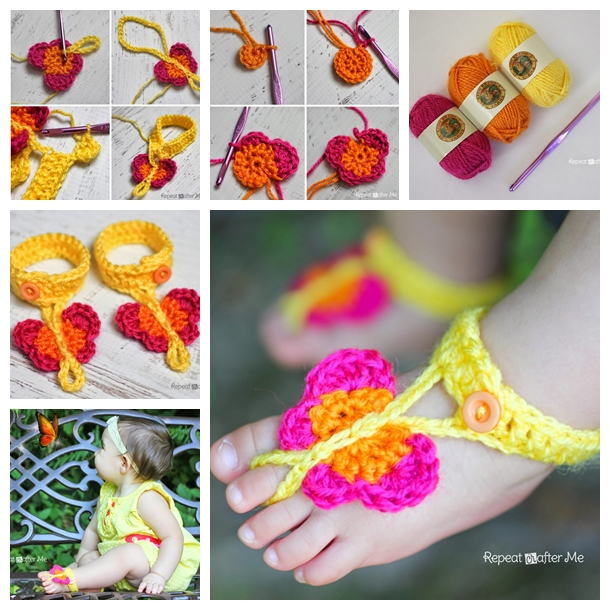 Crochet Butterfly baby Sandals F Wonderful DIY Pretty Crochet Butterfly  Baby flip flops