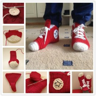 Wonderful DIY Crochet Converse Slippers
