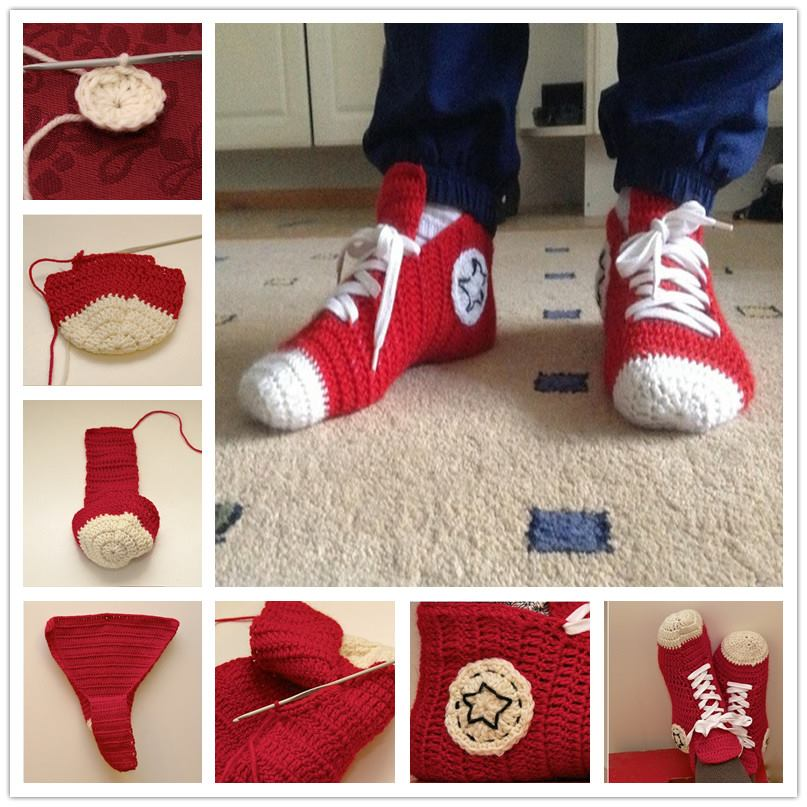 Crochet Converse Slippers Wonderful DIY Crochet Converse Slippers