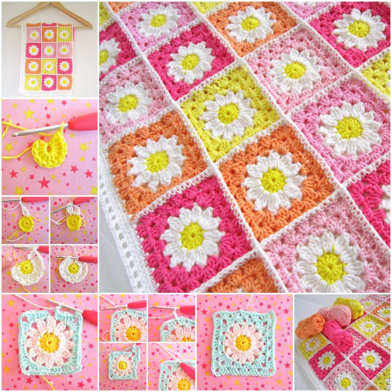 Crochet-Daisy-Blanket-free pattern-wonderfuldiy