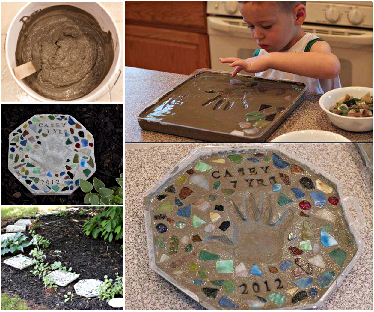 Cute Cement Stepping Stone F Heartwarming Handprint Stepping Stones, For Gardens